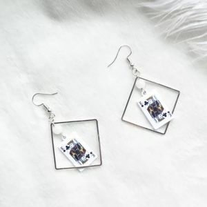 NEW King of Clubs Playing Cards Drop Earrings